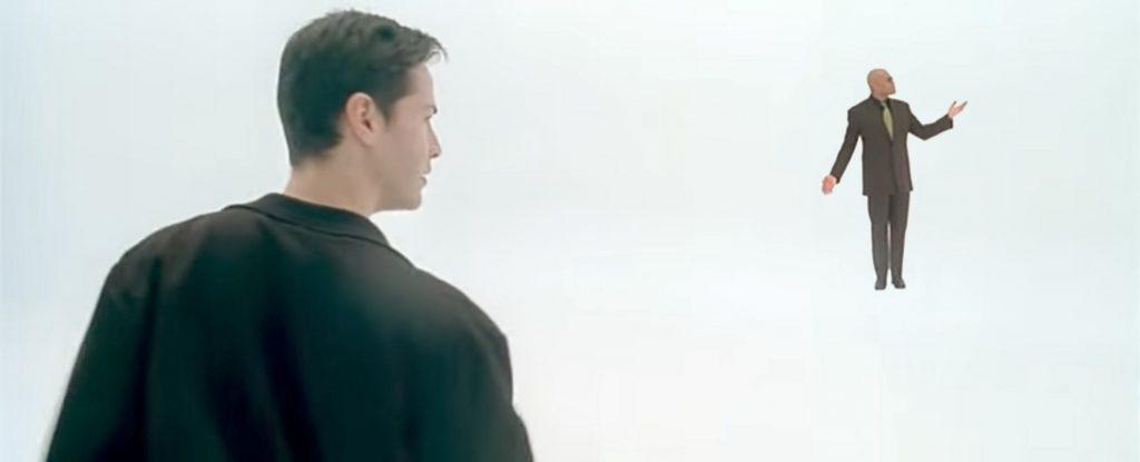 Neo en Matrix espacio blanco