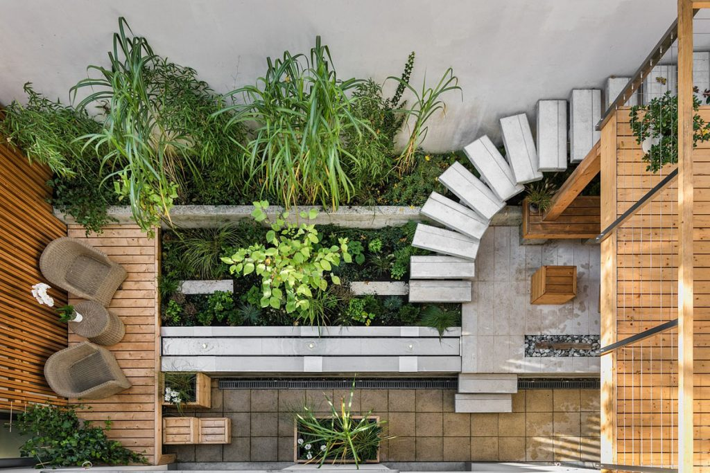 Terraza de casa con escaleras de madera y plantas