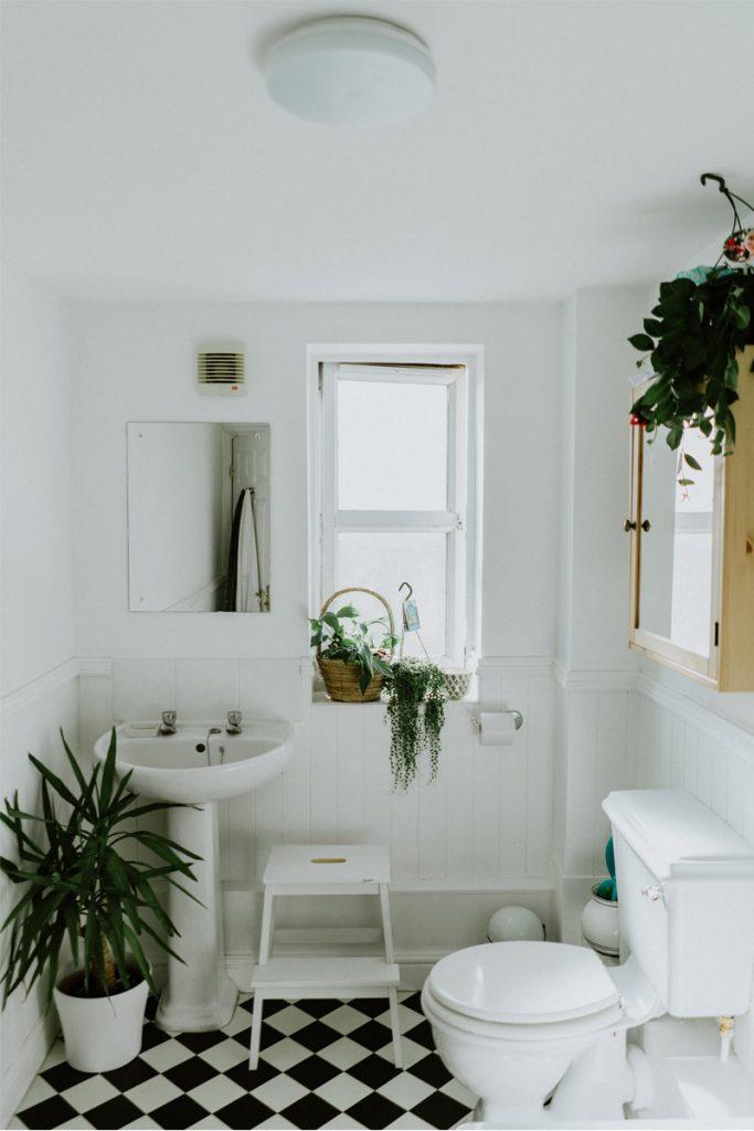 cuarto de baño nordico con plantas y suelo de azulejos blancos y negros
