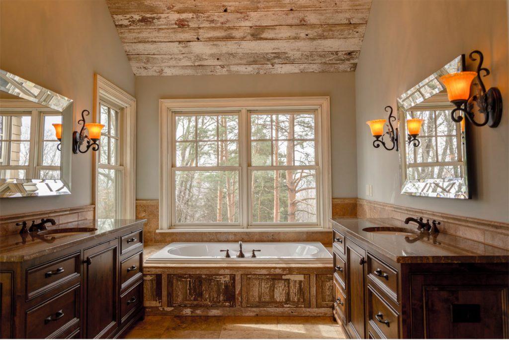 baño vintage con todo hecho en madera