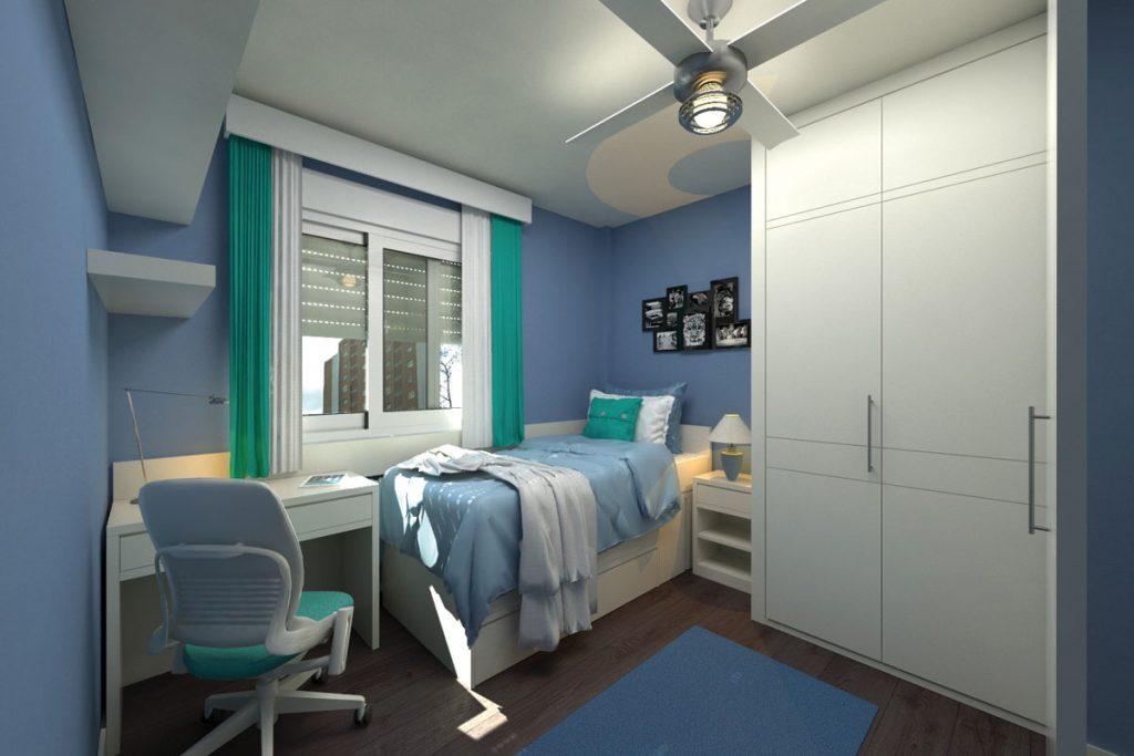 cuarto de baño pequeño muy sencillo en colores azul y blanco