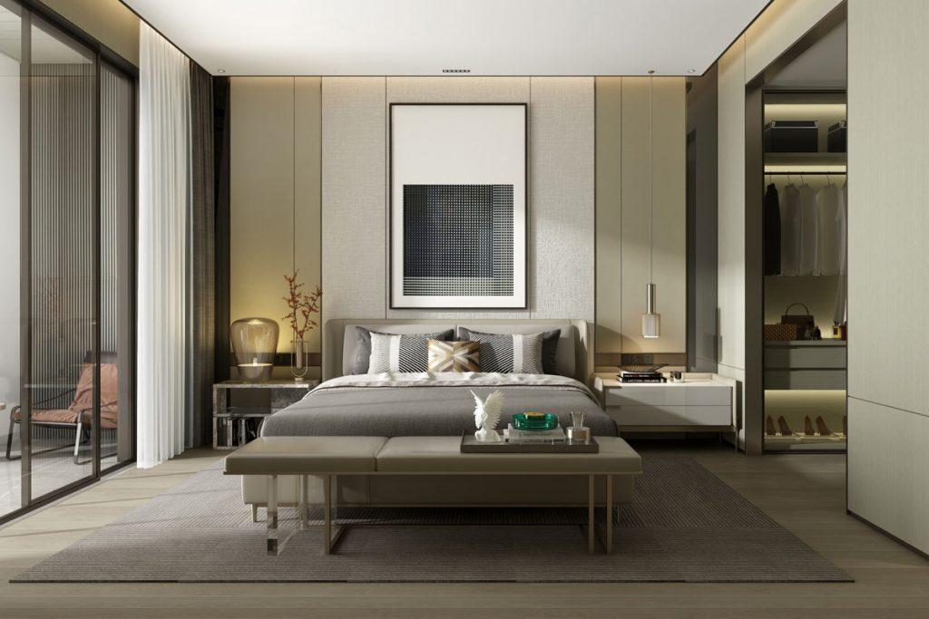 dormitorio moderno decorado con tonos oscuros