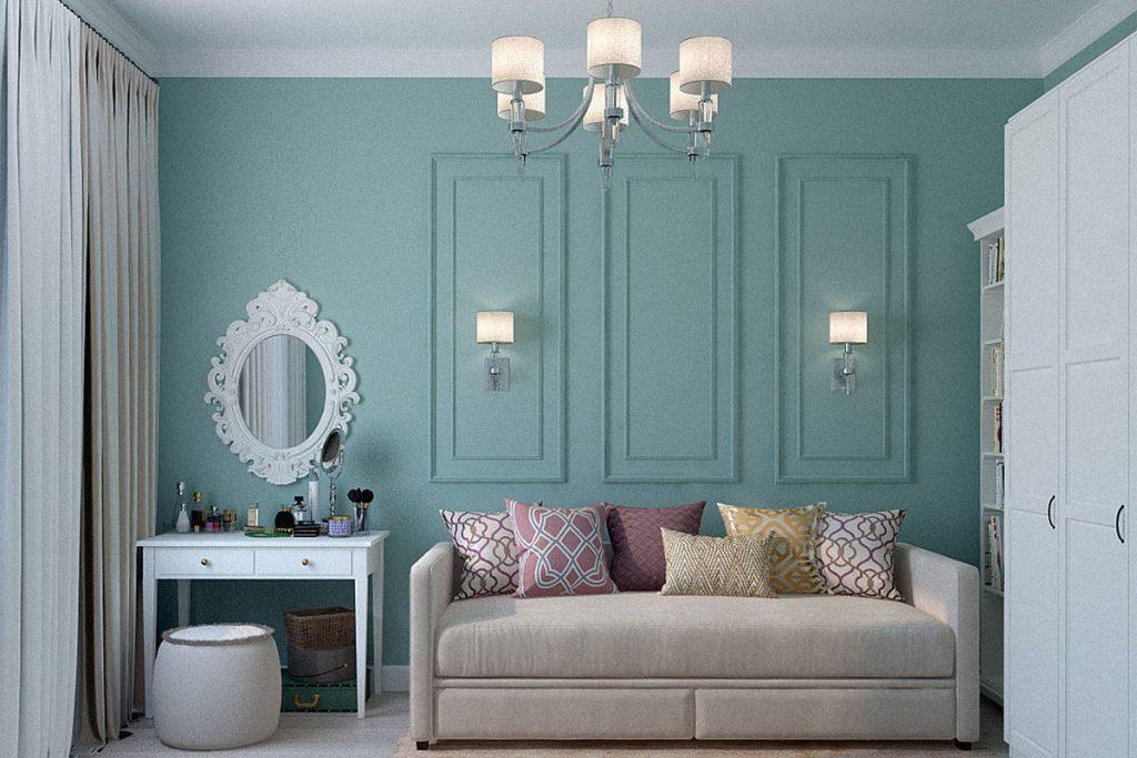 salon clasico moderno con paredes verdes