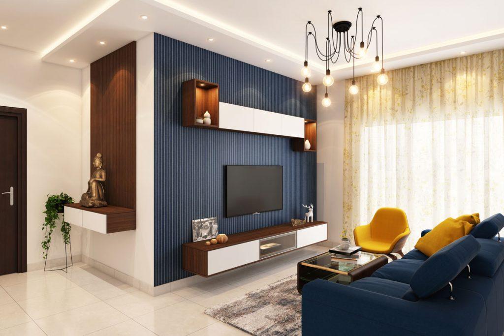 salon decorado al estilo nautico con colores azules marinos y dorados